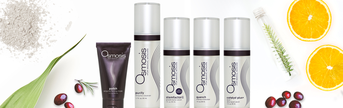 Skincare product by Osmosis, Skinscript, Coola and Matanzas Creek.