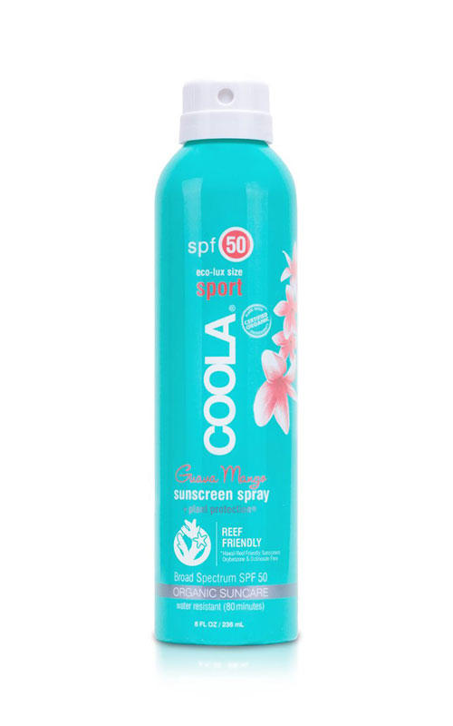 Coola organic suncare sport spray SPF 50 with a Guava Mango scent. Broad spectrum protection and reef friendly.