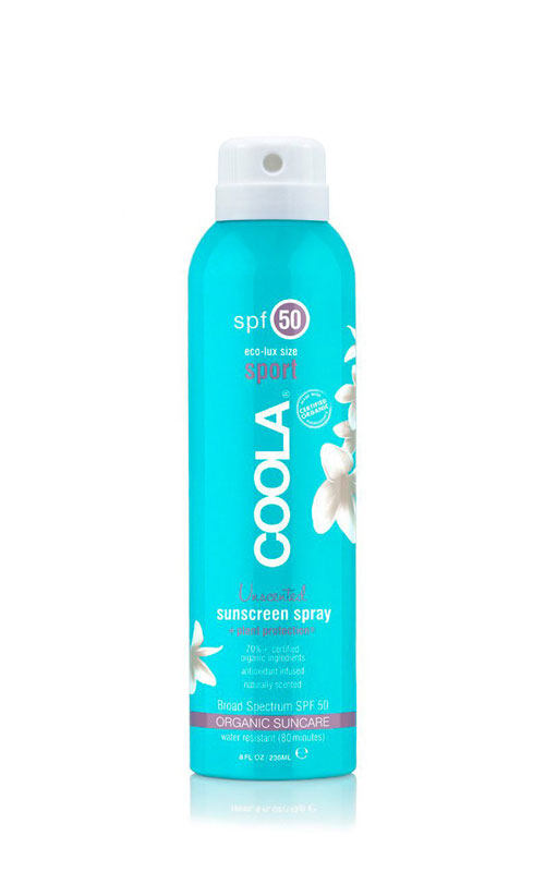 Coola Organic Suncare Sport Spray SPF 50 that is fragrance free. Also Broad spectrum protection and reef freindly.