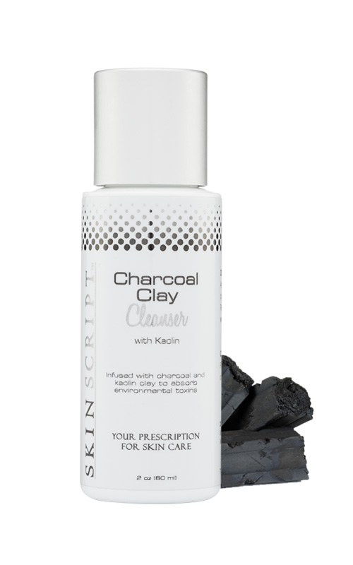 Skin Script Charcol Clay Cleanser Kaolin clay absorbs sebum, removes impurities and helps prevent clogged pores.