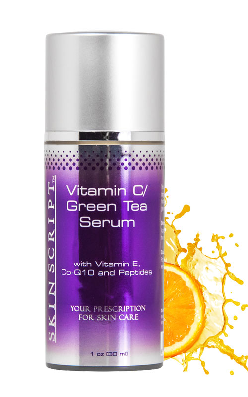 Skin Script Vitamin C Green Tea Serum restores and revitalizes the skin with antioxidants to reduce fine lines and wrinkles.