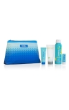 Coola Suncare 4 piece travel kit includes pina colada sunscreen, cucumber moisturizer, liplux & After-Sun Lotion.
