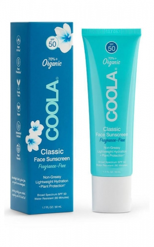 Coola Organic Suncare Classic face Spf 50 is fregrance free. This sunscreen also acts as a moisturizer as well.