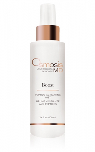 Osmosis Pur Medical Skincare MD Boost Peptide Activating Mist enhances hydration and rejuvenates the skin.