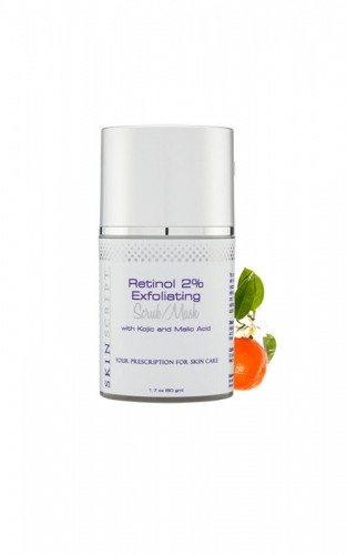 Skin Script Retinol Scrub encourages the breakup of blackheads and clogged pores while lightening pigmentation.